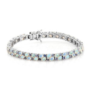 Ethiopian Welo Opal, Tanzanite Platinum Over Sterling Silver Bracelet (7.50 In) TGW 10.08 cts.