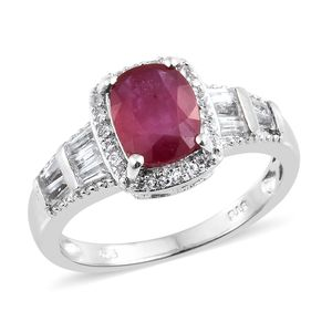 Niassa Ruby, White Topaz Platinum Over Sterling Silver Ring (Size 5.0) TGW 5.67 cts.