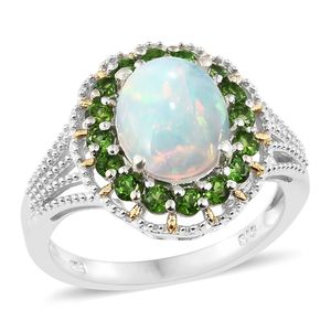 Ethiopian Welo Opal, Russian Diopside 14K YG and Platinum Over Sterling Silver Split Ring (Size 7.0) TGW 3.50 cts.