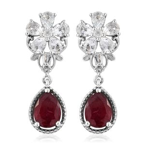Niassa Ruby, White Topaz Platinum Over Sterling Silver Floral Drop Earrings TGW 5.24 cts.