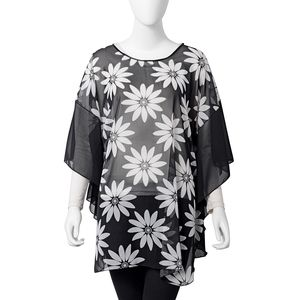 Black and White 100% Polyester Daisy Print Sheer Summer Poncho (One Size)