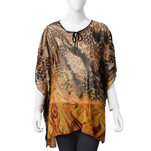 Black and Yellow Leopard Print Pattern 100% Polyester Summer Poncho (35.44x27.56 in)