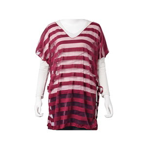 Maroon 100% Polyester Sheer Stripe Summer Blouse (One Size)