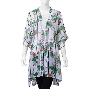 White 100% Polyester Flower Pattern Summer Kimono with Waist Band (One Size)