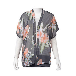 Black with Light Orange Floral Printed 100% Polyester Spring Kimono (26.78x25.59 in)
