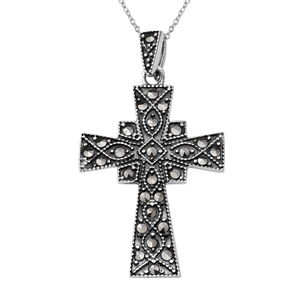 Swiss Marcasite Black Oxidized Sterling Silver Holy Cross Pendant With Chain (18 in) TGW 0.56 cts.