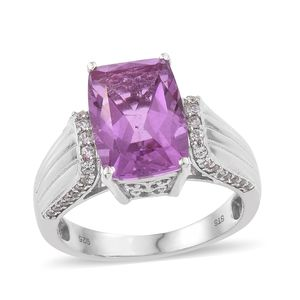 African Lilac Quartz, Cambodian Zircon Platinum Over Sterling Silver Ring (Size 7.0) TGW 7.88 cts.