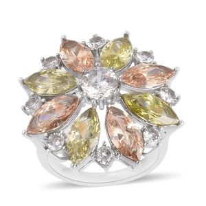 Simulated Multi Gemstone Stainless Steel Daisy Flower Ring (Size 7.0) TGW 3.90 cts.