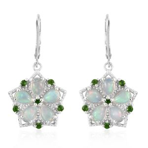Ethiopian Welo Opal, Russian Diopside Platinum Over Sterling Silver Earrings TGW 2.91 cts.