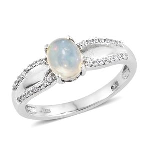 Ethiopian Welo Opal, Cambodian Zircon Platinum Over Sterling Silver Ring (Size 6.0) TGW 1.15 cts.