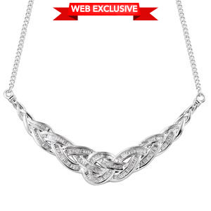 Diamond Platinum Over Sterling Silver Necklace (18 in) TDiaWt 0.75 cts, TGW 0.75 cts.