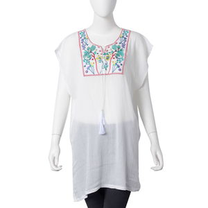 White 100% Viscose Floral Embroidered Blouse with Tassels (One Size)