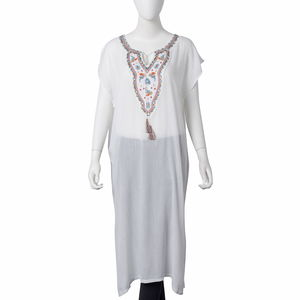 White 100% Polyester and Multi Color Embroidered Dress with Tassels (43x25 in)