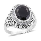 Bali Legacy Collection Thai Black Spinel, White Zircon Sterling Silver Ring (Size 6.0) TGW 6.08 cts.
