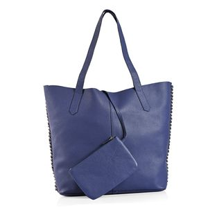 Slate Blue 100% Genuine Leather Tote Bag with Snap Closure (17x4x12 in) and RFID Detachable Pouch (7x5 in)