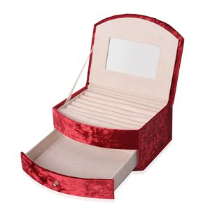 Red Velvet 2-Tier Studded Chroma Jewelry Box with Drawer and Mirror (8.25x3.5x5.25 in)