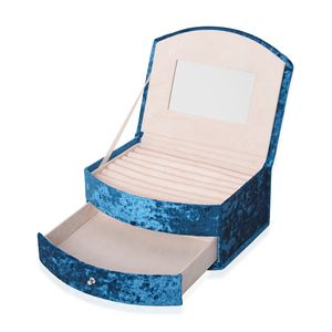 Turquoise Blue Velvet, Resin Stone 2 Layer Fan-Shape Jewelry Box with Mirroe and Removable Drawer (8.3x6.7x3.5 in)