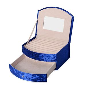 Royal Blue Velvet 2-Tier Studded Chroma Jewelry Box with Drawer and Mirror (8.25x3.5x5.25 in)