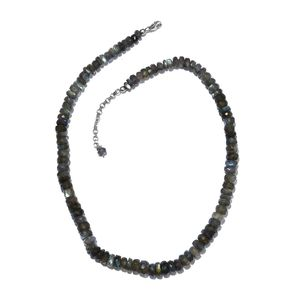 Malagasy Labradorite Beads Platinum Over Sterling Silver Necklace (18 in) with Lobster Lock TGW 172.00 cts.