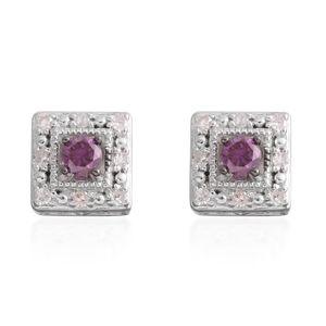 Purple Diamond (IR), Diamond Sterling Silver Stud Earrings TDiaWt 0.25 cts, TGW 0.25 cts.