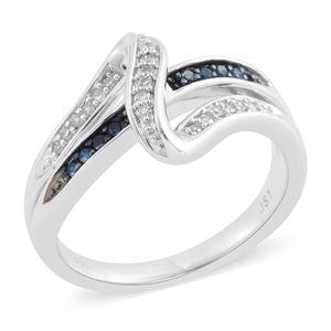 Blue Diamond (IR), Diamond Sterling Silver Ring (Size 6.5) TDiaWt 0.15 cts, TGW 0.15 cts.