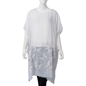 White 100% Polyester Butterfly Embroidered Poncho (One Size)