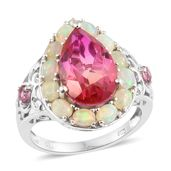 Arizona Sunset Quartz, Multi Gemstone Platinum Over Sterling Silver Ring (Size 7.0) TGW 8.23 cts.