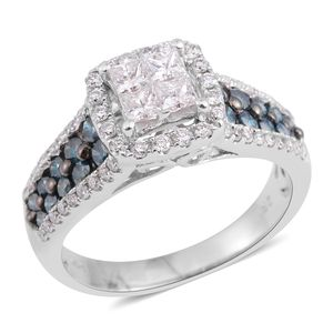 14K WG Diamond, Blue Diamond (G I1) (IR) Ring (Size 7.0) TDiaWt 1.50 cts, TGW 1.50 cts.