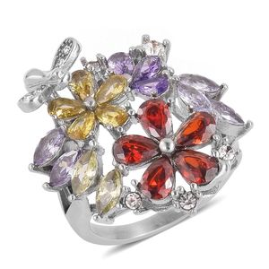 Simulated Multi Color Diamond, White Austrian Crystal Stainless Steel Ring (Size 10.0) TGW 2.14 cts.