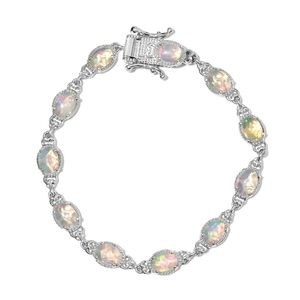 Customer Appreciation Day Ethiopian Welo Opal Platinum Over Sterling Silver Line Bracelet (6.75 In) TGW 5.15 cts.