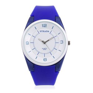 STRADA Japanese Movement Water Resistant Watch with Dark Blue Silicone Band and Stainless Steel Back