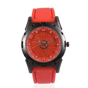 STRADA Japanese Movement Water Resistant Watch with Red Silicone Band & Stainless Steel Back