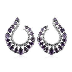 Simulated Purple Diamond Stainless Steel Hoop Earrings TGW 9.92 cts.