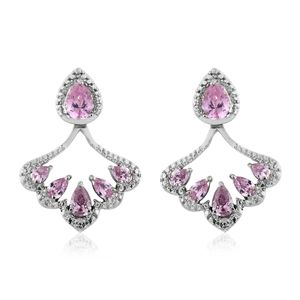 Simulated Pink Sapphire Stainless Steel Earrings TGW 6.00 cts.