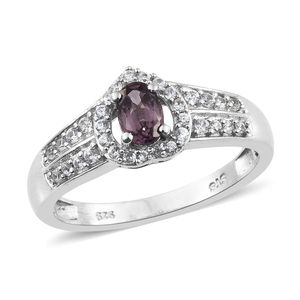 Burmese Lavender Spinel, Cambodian Zircon Platinum Over Sterling Silver Ring (Size 7.0) TGW 0.85 cts.