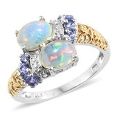 Ethiopian Welo Opal, Tanzanite 14K YG and Platinum Over Sterling Silver Bypass Ring (Size 7.0) TGW 1.87 cts.