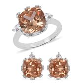 Simulated Imperial Topaz, Austrian Crystal Stainless Steel Earrings and Ring (Size 10) TGW 4.60 cts.