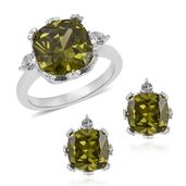 Simulated Vesuvianite, Austrian Crystal Stainless Steel Earrings and Ring (Size 6) TGW 4.60 cts.