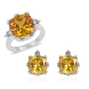 Simulated Yellow Sapphire, Austrian Crystal Stainless Steel Earrings and Ring (Size 7) TGW 4.60 cts.
