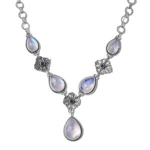 Artisan Crafted Rainbow Moonstone, Catalina Iolite Sterling Silver Necklace (18 in) TGW 31.46 cts.