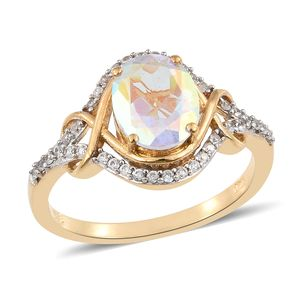 Mercury Mystic Topaz, Cambodian Zircon Vermeil YG Over Sterling Silver Ring (Size 7.0) TGW 4.00 cts.