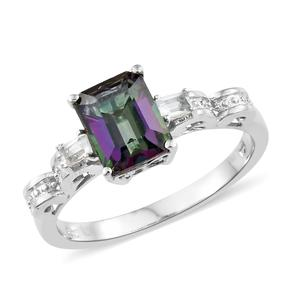 Northern Lights Mystic Topaz, White Topaz Platinum Over Sterling Silver Ring (Size 7.0) TGW 3.05 cts.