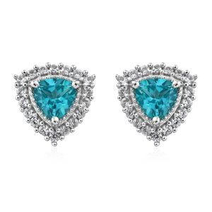 Paraiba Topaz, Cambodian Zircon Platinum Over Sterling Silver Earrings TGW 2.55 cts.
