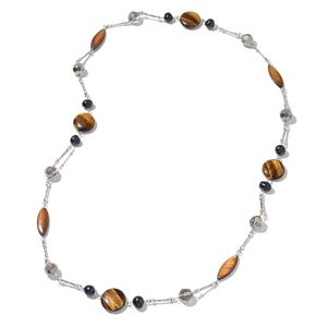 South African Tigers Eye, Multi Gemstone Black Oxidized Silvertone Necklace (34 in) TGW 184.00 cts.