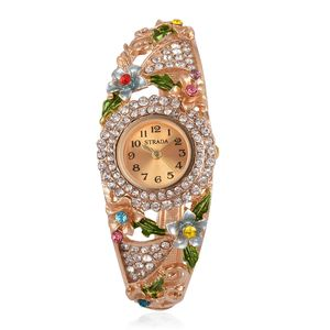 STRADA Multi Color Austrian Crystal Japanese Movement Water Resistant Bangle Watch in Goldtone with Stainless Steel Back