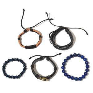 FOR HIM Lapis Lazuli, Wooden Goldtone Set of 5 Bracelet with Faux Leather Cord (5.50, 6, 6.50, 7In) TGW 202.00 cts.