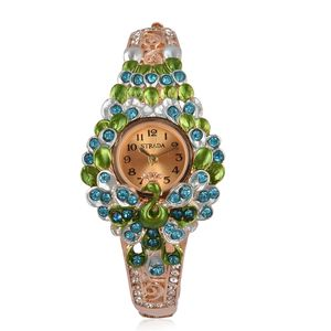 STRADA Blue and White Austrian Crystal Japanese Movement Water Resistant Peacock Bangle Watch in Goldtone with Stainless Steel Back