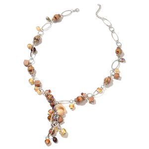 Brown Ceramic, Multi Gemstone Silvertone Necklace (28 in) TGW 550.00 cts.