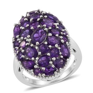 Lusaka Amethyst, White Topaz Platinum Over Sterling Silver Cluster Cocktail Ring (Size 5.0) TGW 7.20 cts.