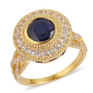 Masoala Sapphire, Multi Gemstone 14K YG Over Sterling Silver Royal Ring (Size 7.0) TGW 6.60 cts.